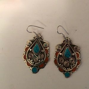 Jewelry - Turquoise/Coral dangling earrings. Vintage